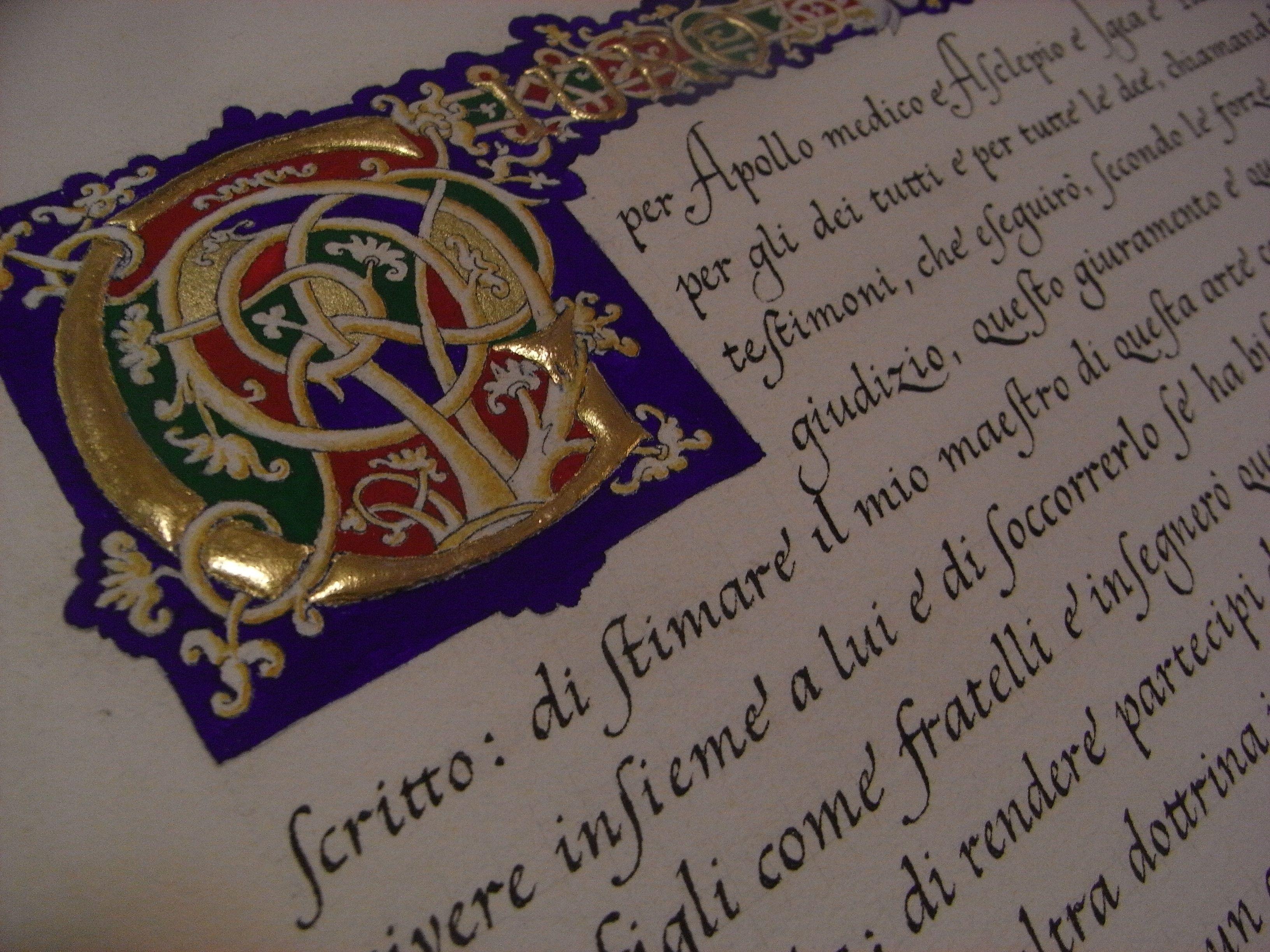 Cancelleresca con Capolettera a Bianchi Girari - Italian Chancery script with illuminated initial in Bianchi Girari style