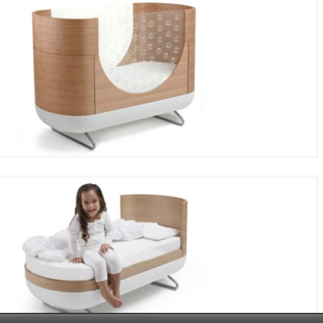 Really cool modern baby bed that converts to a toddler bed.