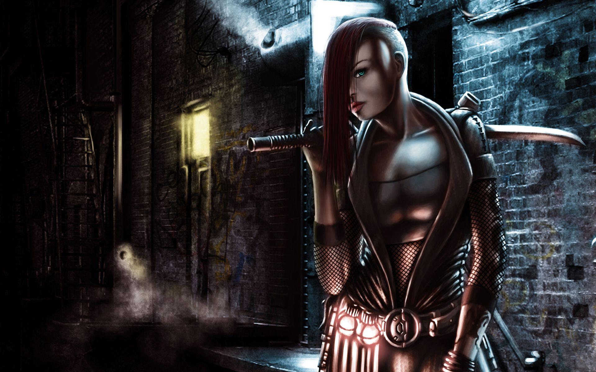Women Warrior Artwork Sword Rain Cyberpunk Cyberpunk: Katana Sword Weapons Warrior Armor Cyberpunk Punk Urban