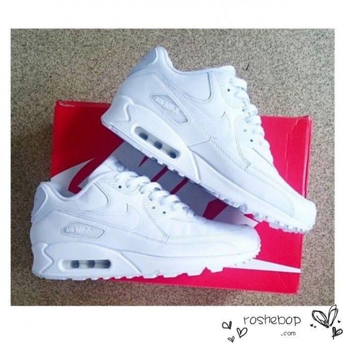 Nike Air Max 90 Womens Mens Shoes Hyperfuse All White Best Seller Nike Air Max Weiss Nike Schuhe Schuhe Turnschuhe