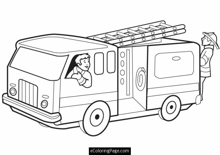Fireman Coloring Pages Printable Fire Truck With Firemen