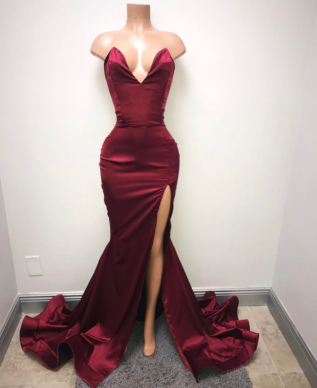 Burgundy african mermaid evening dress hot sale prom dress in