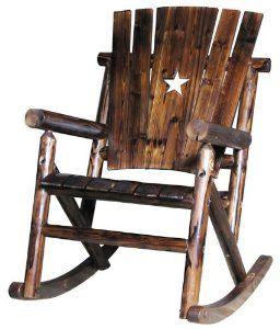 Exceptional Char Log Single Rocker Porch Rocking Chair Wooden Deck Patio Yard Furniture  New