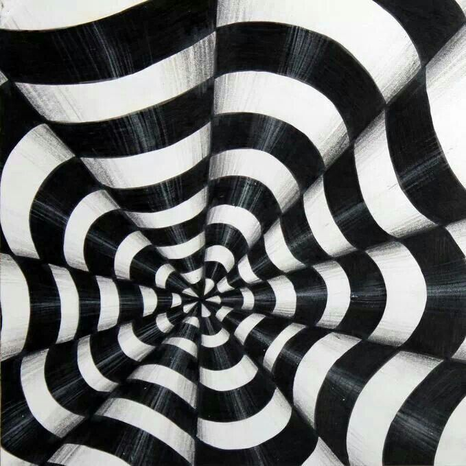 Black And White Round Cone Spiral Glossy Illusion Pattern