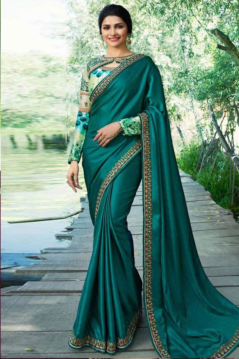88bde019d6 Modest saree wear, Midnight green silk embroidered sarees, keyhole neck