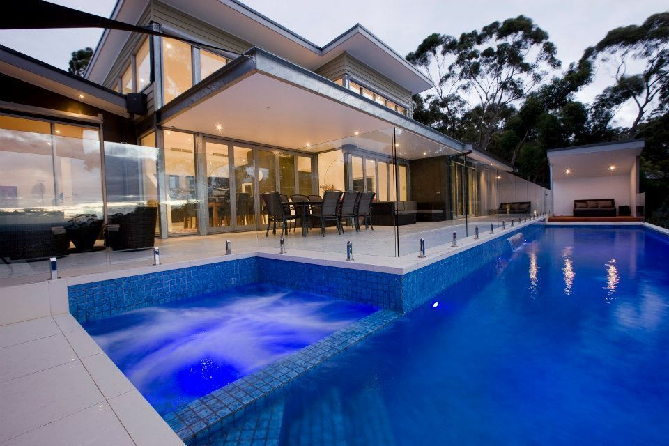 Frameless Glass Pool Fencing Around Pool And Spa Apartment Pool Pent House Rooftop Terrace Design