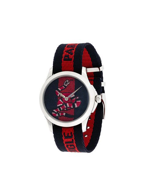 820860ea326 Shop Gucci snake fabric strap watch.