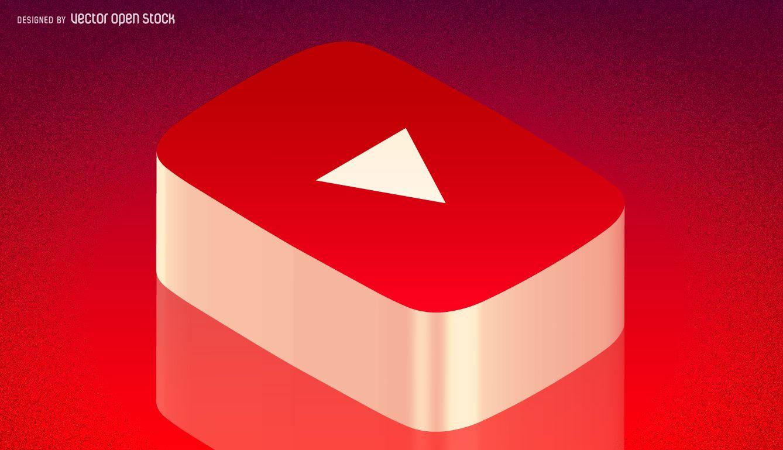 3D isometric Youtube social media icon for a blog header