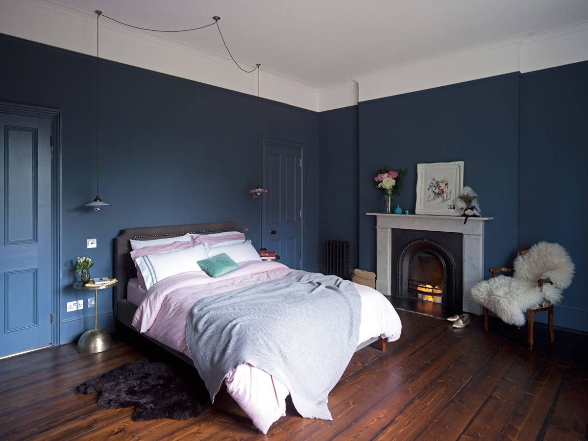 Dark Wall Likely Stiffkey Blue F B Monotone Paint For Woodwork And Walls With Picture Rail An Dining Room Paint Colors Dining Room Colors Dark Blue Bedrooms