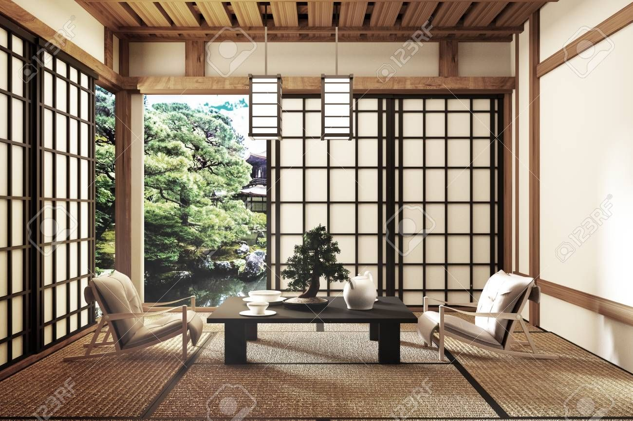Mock Up Modern Living Room Japanese Style 3d Rendering For Amazing