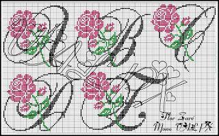 Monograma De Rosas Projetos De Ponto Cruz Ponto Cruz Monograma