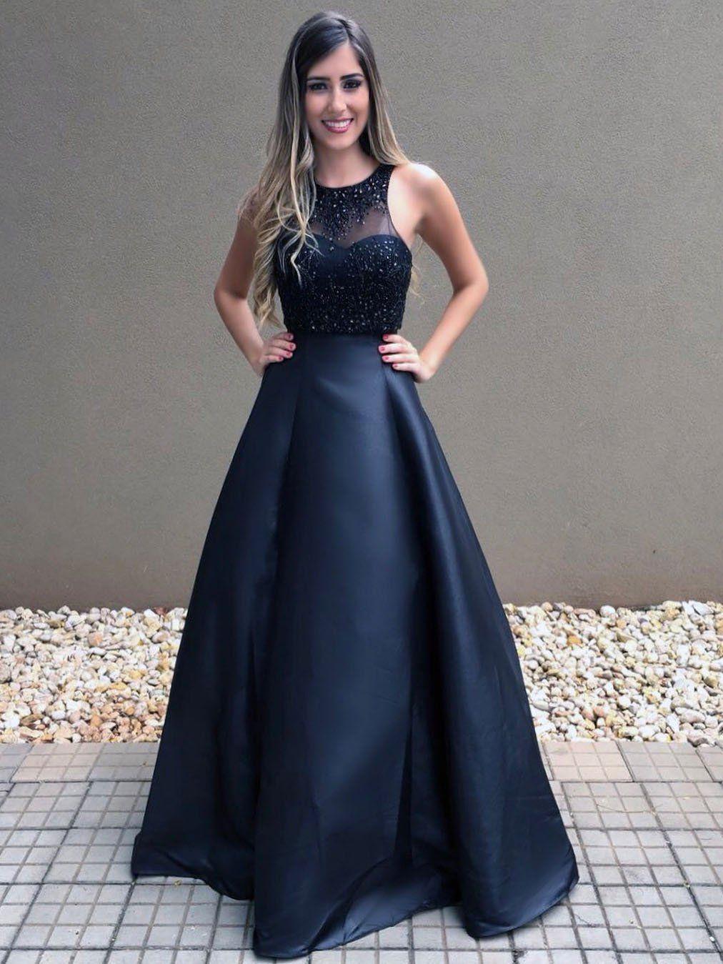 Cheap Black Beaded Prom Dresses Long A Line Evening Dress