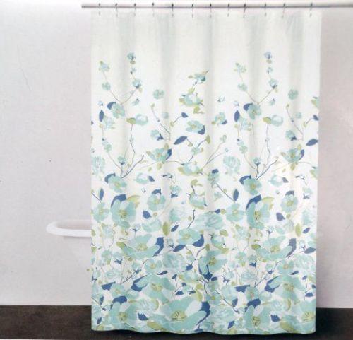 Dkny Falling Petals Floral Fabric Shower Curtain Aqua New Fabric Shower Curtains Floral Shower Curtains Patterned Shower Curtain
