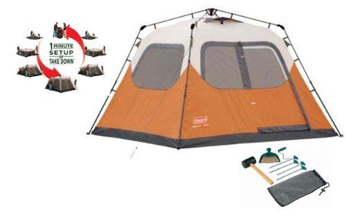 COLEMAN Outdoor Camping Waterproof 6 Person Instant Tent (10' x 9') + Tent Kit (B00D8INFOY) - $198.99 at Amazon.com