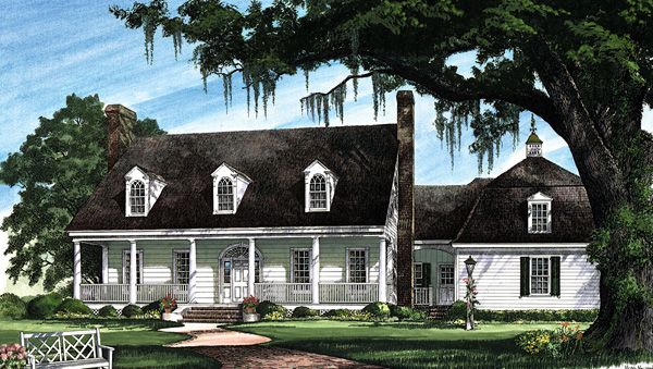 Cape Cod Colonial Cottage Country Plantation Southern Elevation of