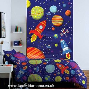 Outer Space wallpaper feature wall for toddlers by