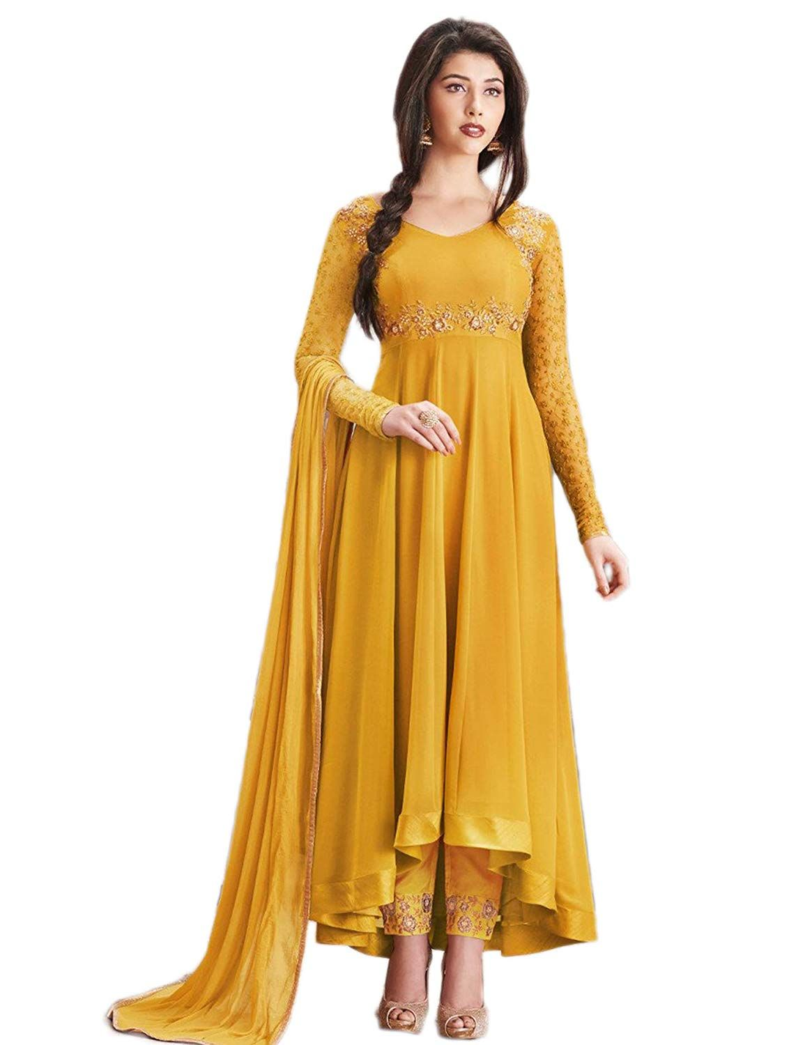 6add9dd1b1 Glamify Women's Georgette Semi-Stitched Anarkali Suit (Mustard_Free_Size):  Amazon.in: Clothing & Accessories