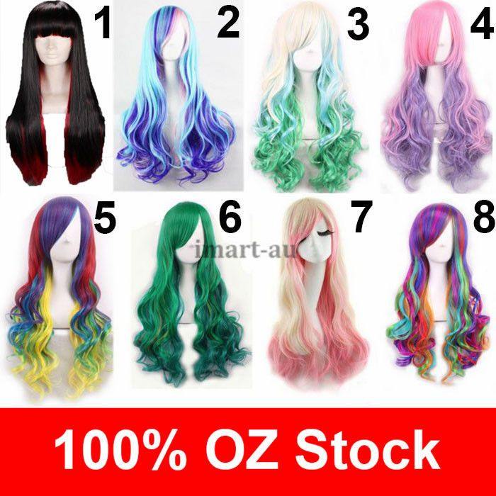 15.99 Womens Long Wavy Curly Mixed Hair Synthetic Cosplay Full Wig Wigs  Party Cos 38c9a16812