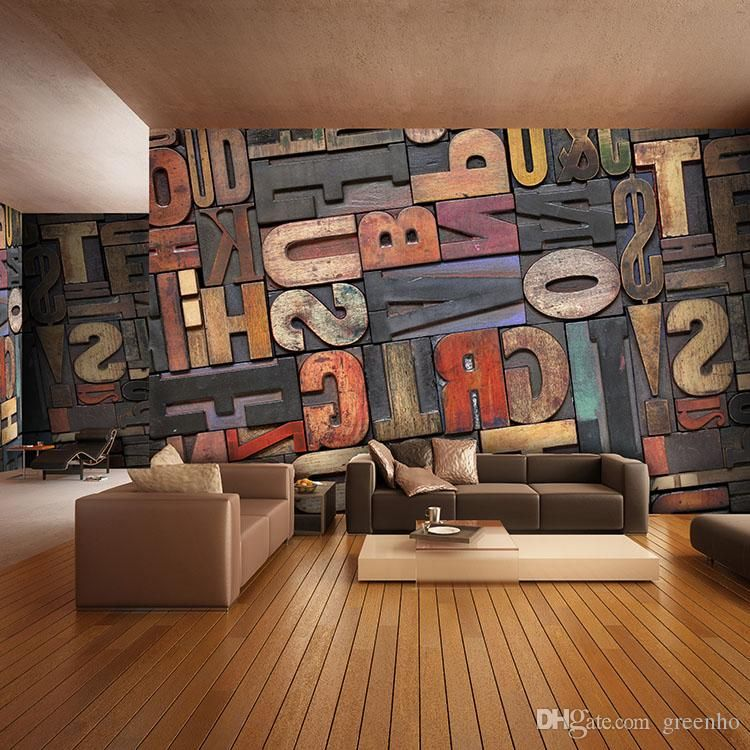 3D Giant Photo Wallpaper Letter Number Wall Mural Personality Wallpaper  Bedroom Hallway Room Decor Sofa TV Part 77