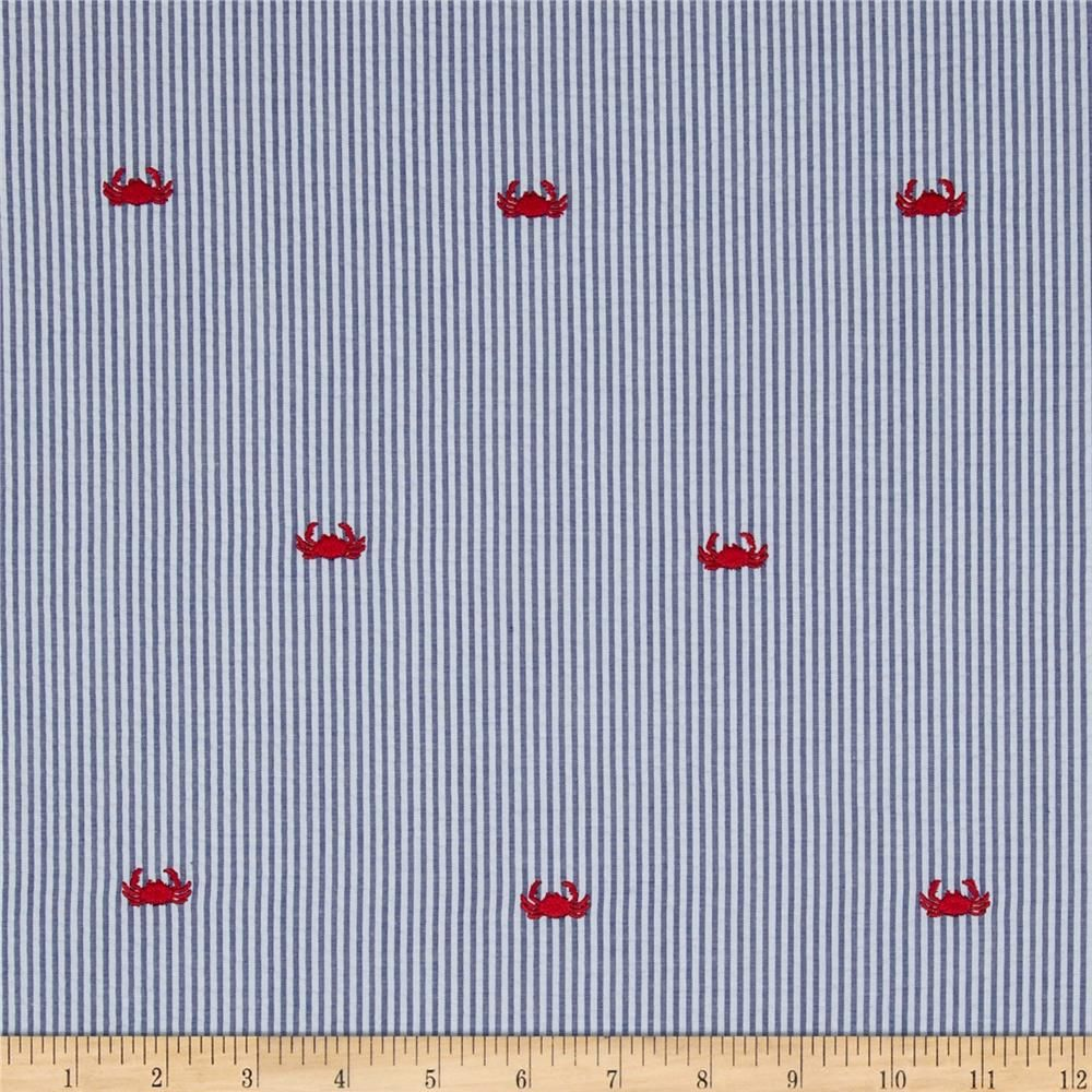 Embroidered Seersucker Crabs Navy White From Fabricdotcom This