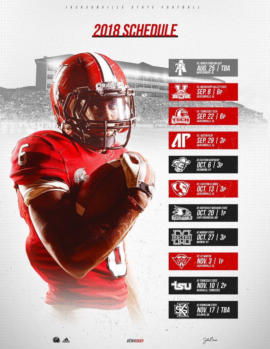 Jacksonville State Sports Graphic Design Sports Design College Football Schedule