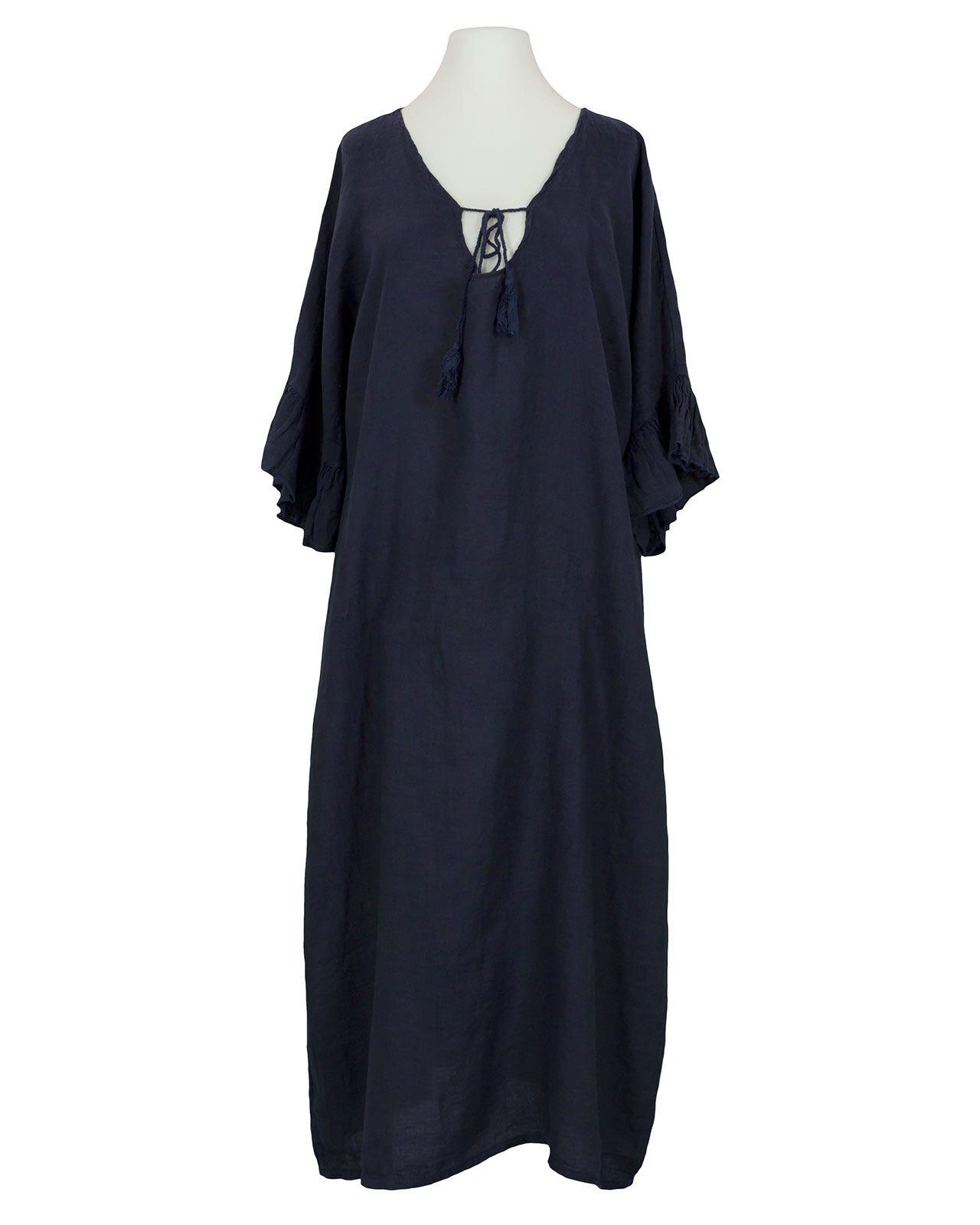 Damen Leinenkleid Volantarm, dunkelblau von Diana in 2020 ...
