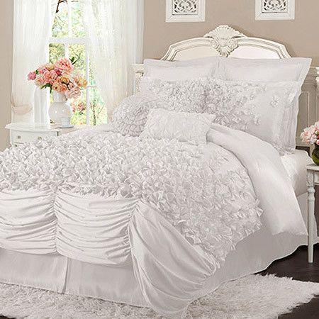 4 Piece Nathalie Comforter Set In White Comforter Sets Bedding Sets Home