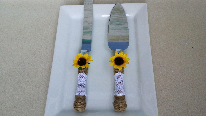 Sunflower Cake Knife & Server Set Burlap Twine with