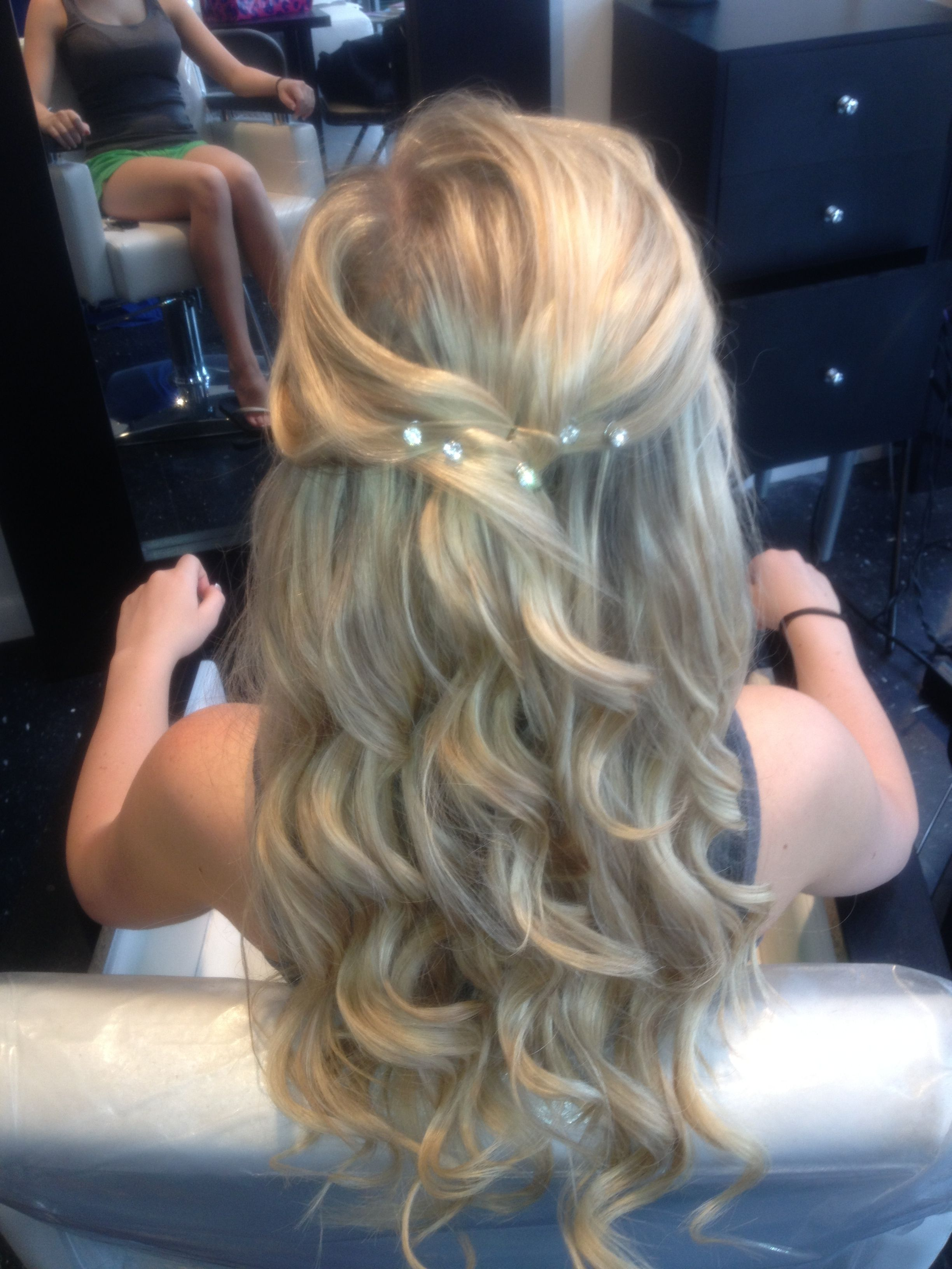 my half up half down curled prom hair with jewels. | hair