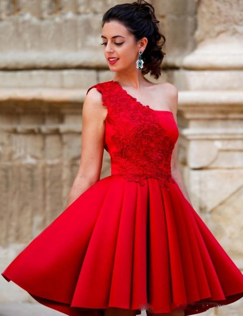 5adf2d8446e04 2016 Elegant Red Cocktail Dresses One Shoulder Lace Short Prom ...