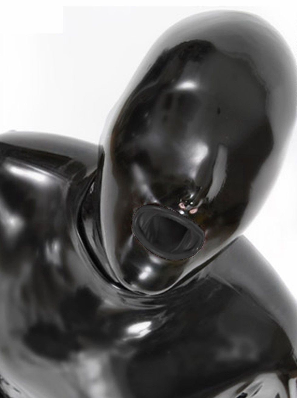 Latex Hood With Mouth Condom Latex Rubber Fetish Mask Back