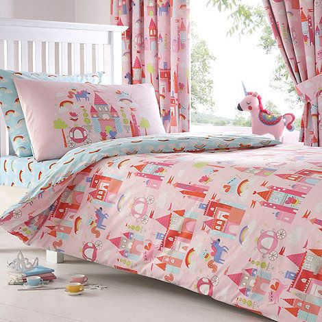kids' pink 'castle and unicorns' duvet cover and pillow case set