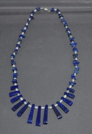Pearl and Lapis Necklace