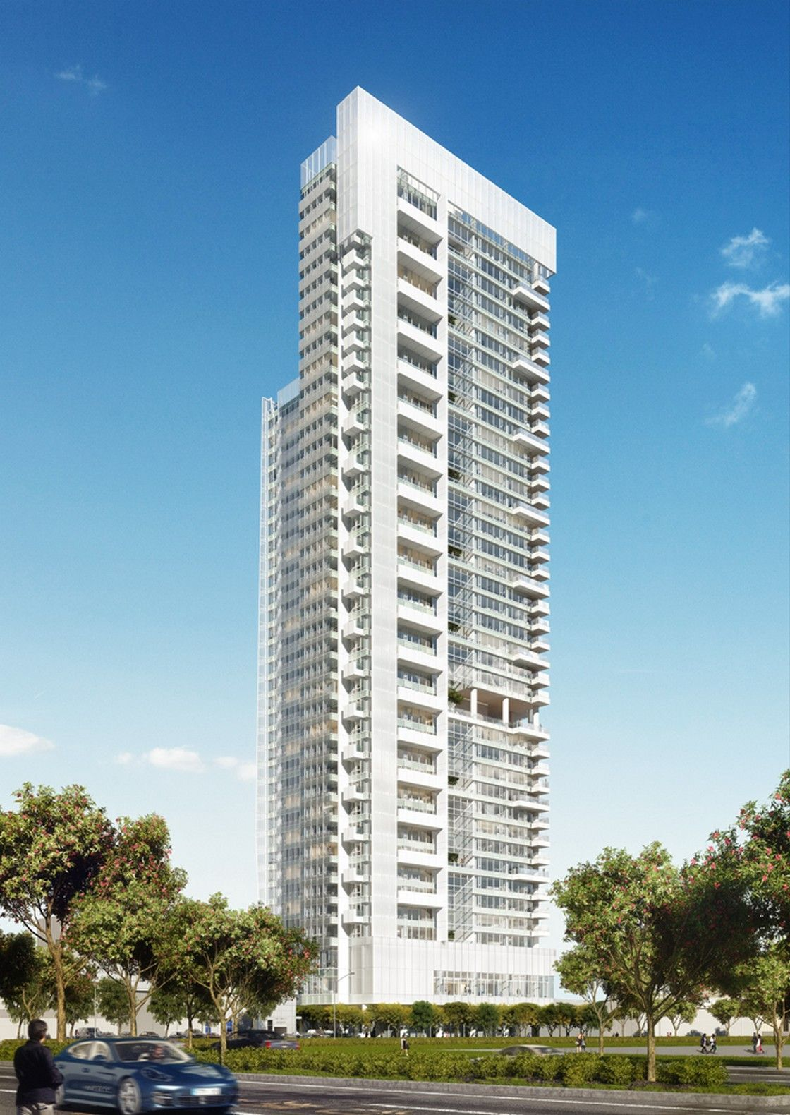 3d Front Elevation Of Commercial Building : Richard meier partners taichung condominium tower