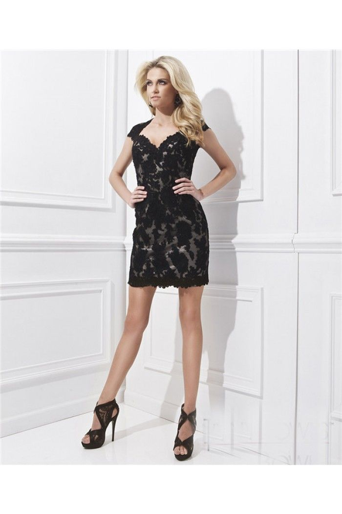 Short Black Lace Prom Dress