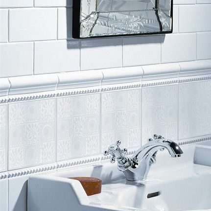 william de morgan 9 square white wall tile - this discreet