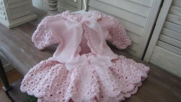 Hand crochet pink dress (skirt and jacket) for baby girls special occasion