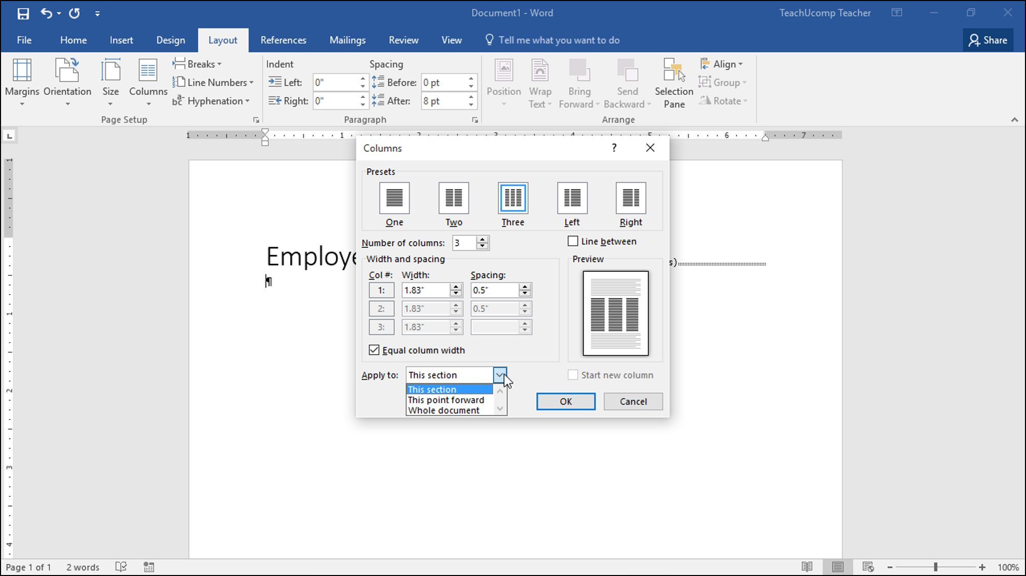 the interesting create columns in word  u2013 instructions and