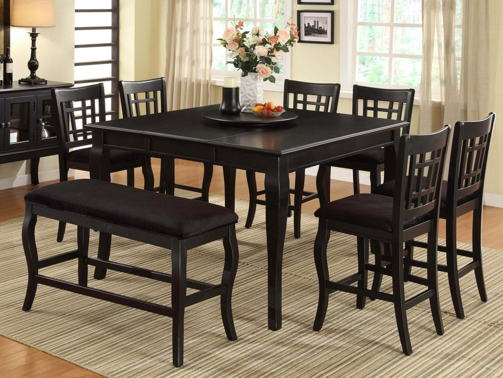 Burgos 54 18 Leaf X 54 X 36 Counter Height Table With Lazy Susan Black Milton Green Stars 8828bk In 2020 Counter Height Table Wooden Counter Counter Height Dining Table