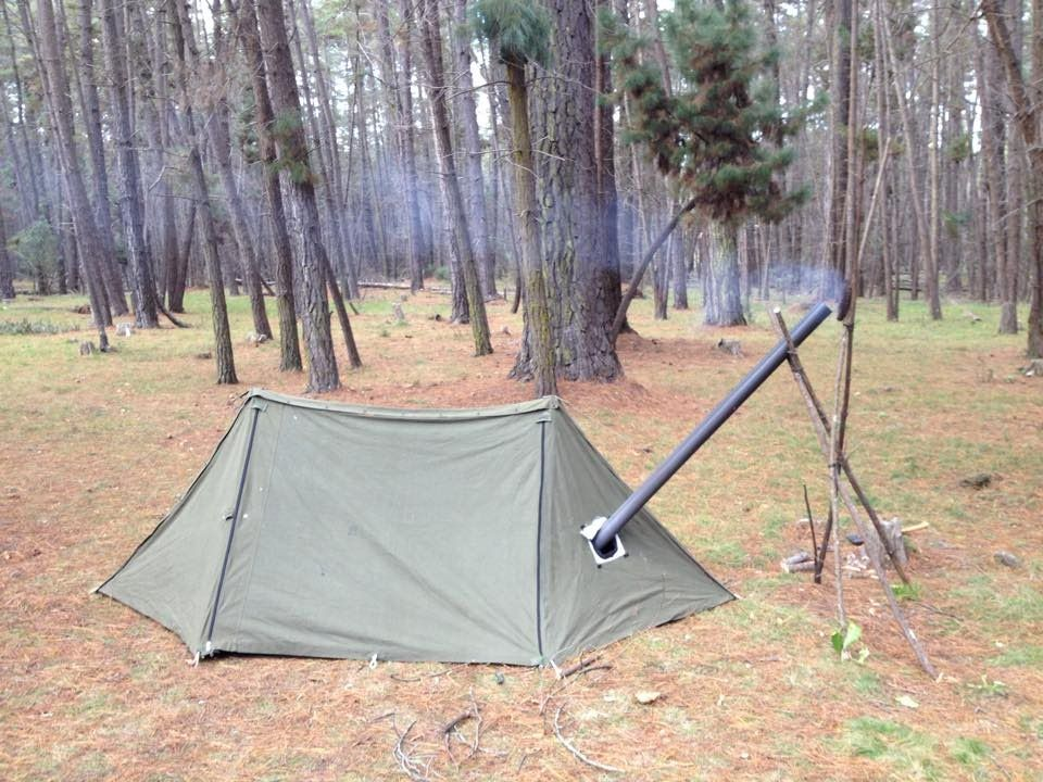 round 2 of the pup tent mods stove jack for use with ammo can stove making it a hot tent for winter c&ing & Pup Tent Modifications - Bushcraft Shelter Hot Tent | camping ...