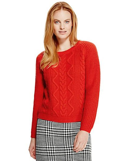 Cable Knit Stitched Jumper with Wool | M&S