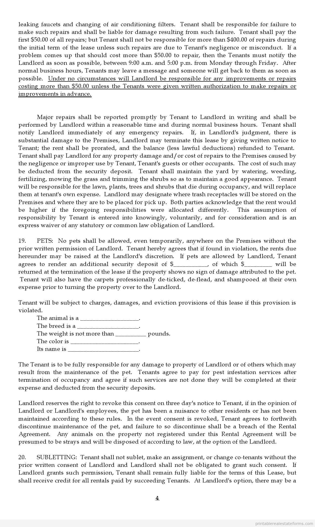 Printable Option Agreement For Lease With Option To Buy Template