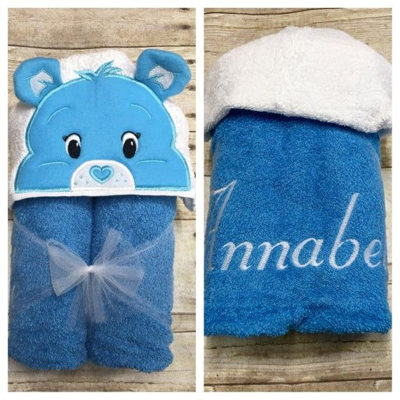 Blue Care Bears Hooded Towel/ Carebear Costume/ Care Bear Birthday/ Care Bears Party/ Bear Bath Towe #carebearcostume