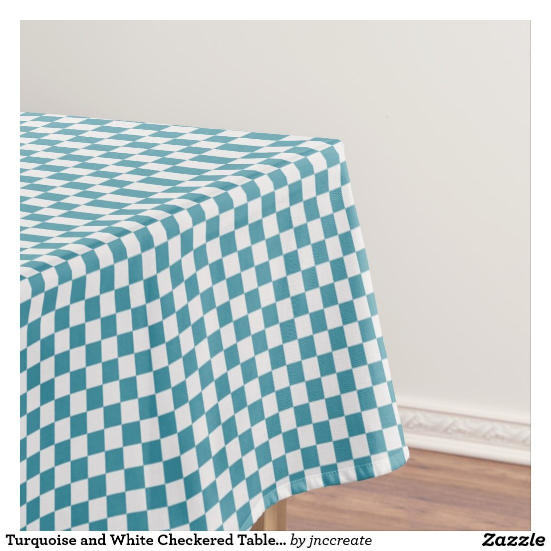 Turquoise And White Checkered Tablecloth