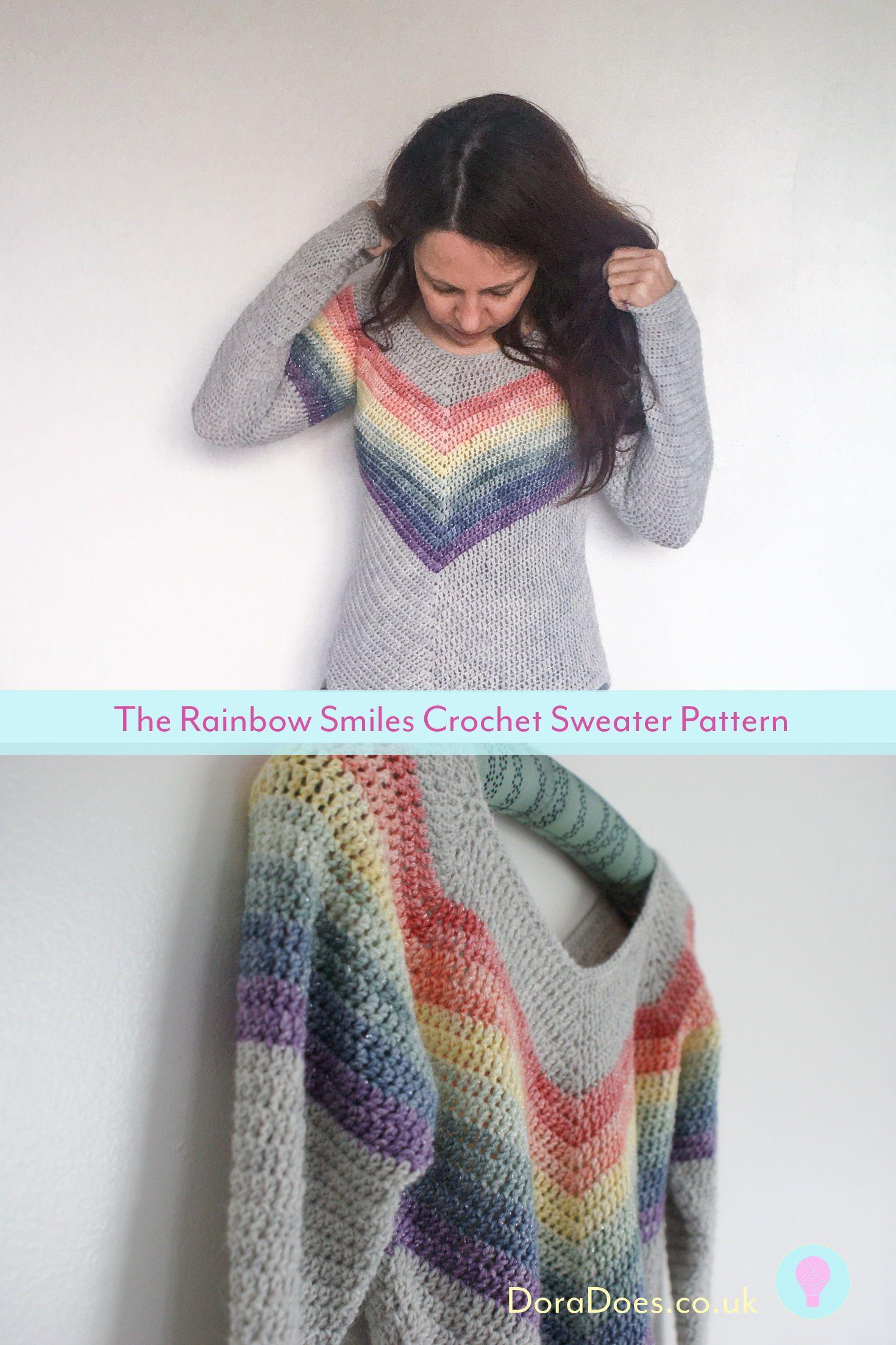 Rainbow Smiles Crochet Pattern Rainbow Smiles Crochet Pattern Woman Knitwear and Sweaters 3 square woman free knit sweater pattern