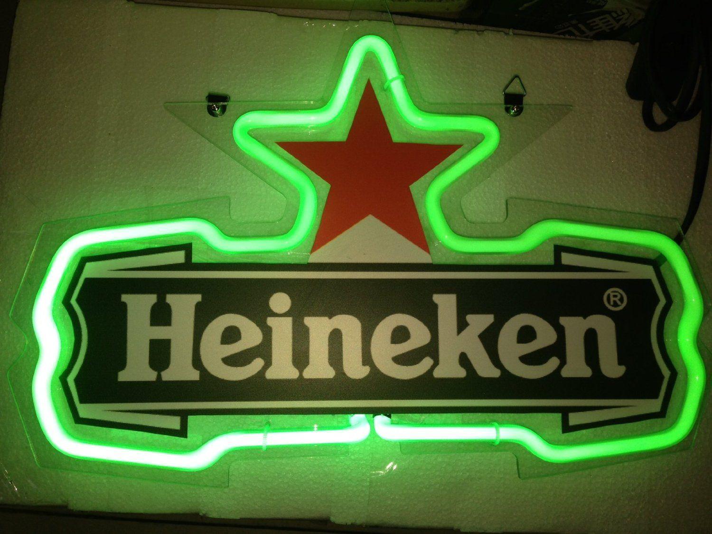 Green Heineken Red Star Logo Beer Bar Real Glass Tube Neon