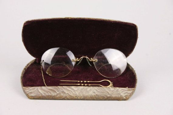 Vintage Woman's Pince Nez Bifocals with Chain by AuntHattiesAttic