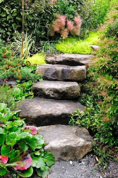 Enchanting Small Garden Landscape Ideas With Stepping Walk: Would Like This For The Hill In Our Backyard