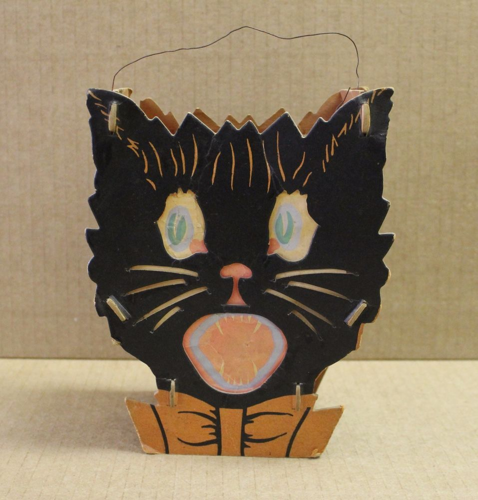 Details about Vintage Double Sided Cat Lantern Cardboard 0443