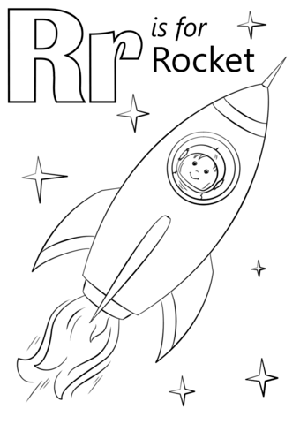 Letter R is for Rocket coloring page from Letter R